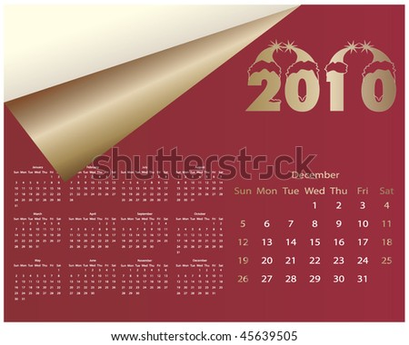 Colorful Calendar for year 2010. in vector format - december
