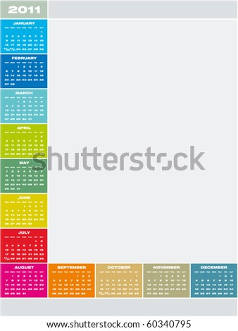 Colorful Calendar for year 2011 in vector format. Week starts on Sunday - stock vector