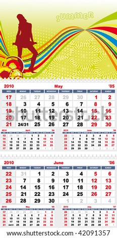 Colorful Calendar for year 2010, part 3