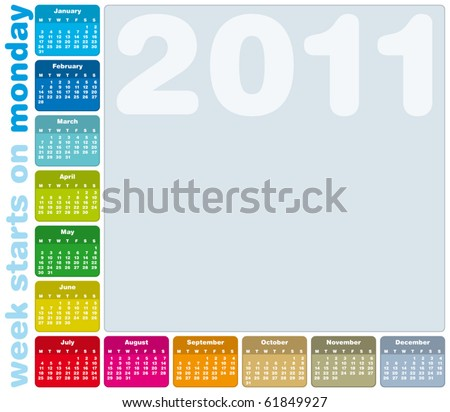 Colorful Calendar for Year 2011, week starts on Monday. - stock vector