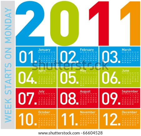 Colorful Calendar for Year 2011, week starts on Monday - stock vector