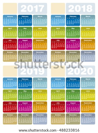 Colorful Calendar for Years 2017, 2018, 2019 and 2020, in vector format.