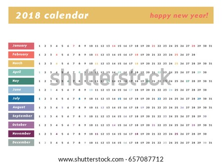 colorful calendar layout 2018 years one stock vector royalty free