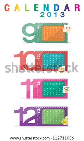Colorful calendar 2013, september, october, november, december - stock vector