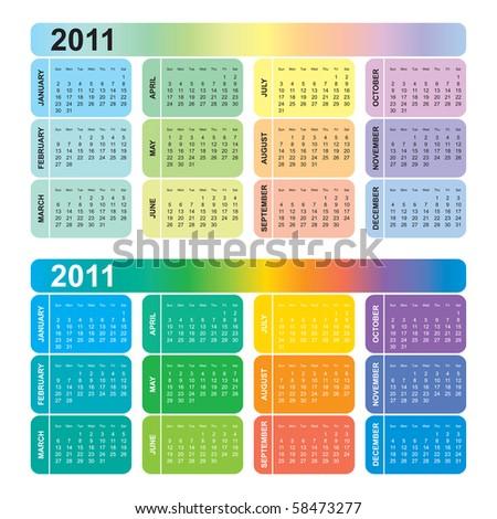 Colorful calendar 2011, vector - stock vector