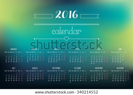 Colorful 2016 Calendar. Weeks start with Monday. Vector illustration. Easy to edit.