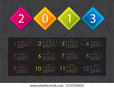 colorful 2013 calendar with special design - stock vector