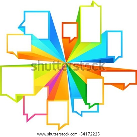 Colorful callout rectangular shapes - stock vector