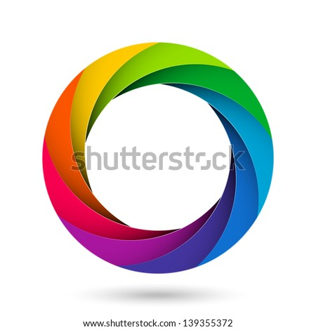 Colorful camera shutter aperture. Vector. - stock vector