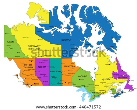 colorful canada political map with clearly labeled separated layers vector illustration