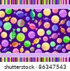 colorful candy seamless pattern on dark violet background with lines. Vector illustration - stock vector