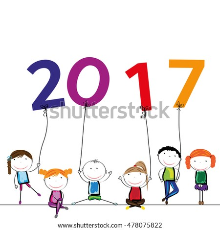 Colorful card fir New Year 2017 with happy kids