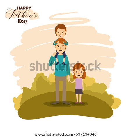 colorful card of landscape with son in shoulders of dad and daughter of the hand on the fathers day vector illustration
