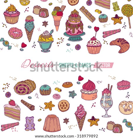 Colorful Card or Brochure - with Cakes, Sweets and Desserts - in vector