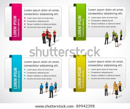 Colorful cards with business people - stock vector