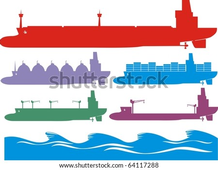 Colorful cargo ship image collection - stock vector