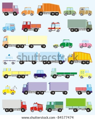 Colorful cars and trucks vector illustration set - stock vector