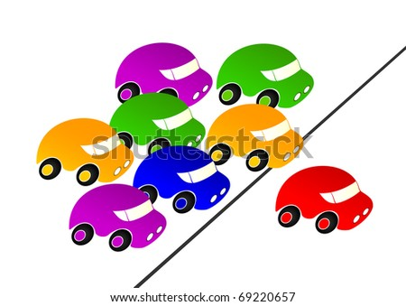 Colorful cars pursued the red car.Red car leader.Car Racing.