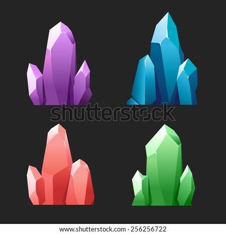 Colorful cartoon crystals - stock vector