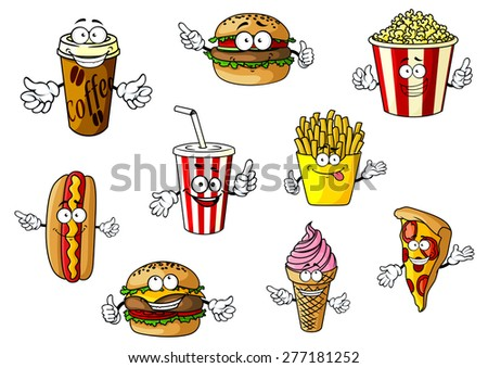 Colorful cartoon fast food and takeaways characters with hot dog, coffee, burger, popcorn, soda, French fries, cheeseburger, ice cream and pizza, vector illustration isolated on white - stock vector