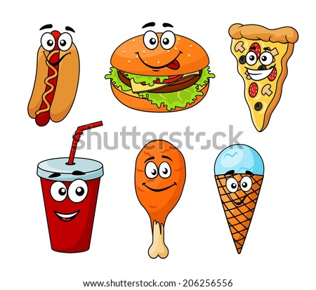 Colorful cartoon fast food icons with a hotdog, cheeseburger, pizza, soda, chicken wing and ice cream cone, isolated on white for junk food or logo design - stock vector