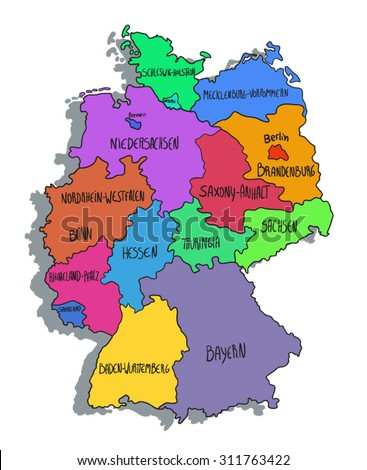 Colorful cartoon map of Germany - stock vector