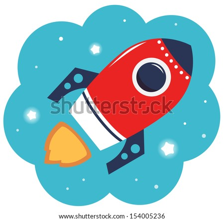 Colorful cartoon Rocket in space isolated on white  - stock vector