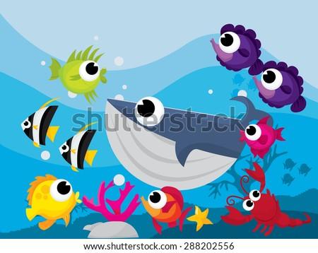 Colorful cartoon sea creatures in underwater scene vector illustration. - stock vector