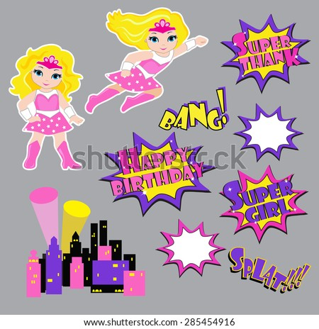 Colorful cartoon text captions. Explosions and noises. Super Girl. Birthday. - stock vector