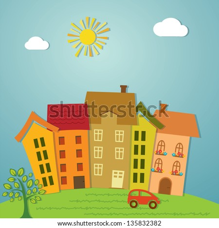 Colorful cartoon town illustration. - stock vector