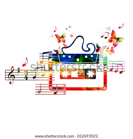 Colorful cassette tape design with butterflies - stock vector