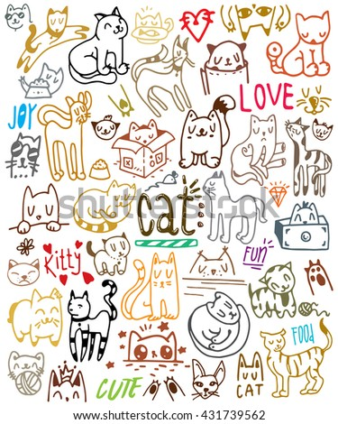Colorful cat set on white background