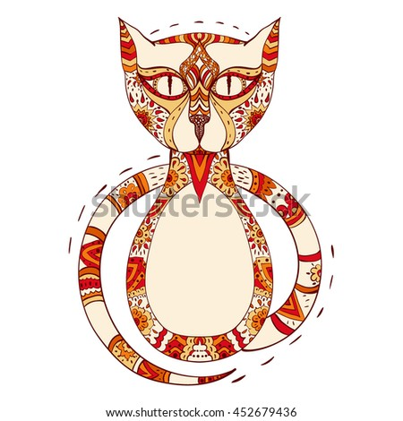 colorful cat stylized in zentangle. vector illustration isolated on white. hand drawn. Zen art doodle style - stock vector