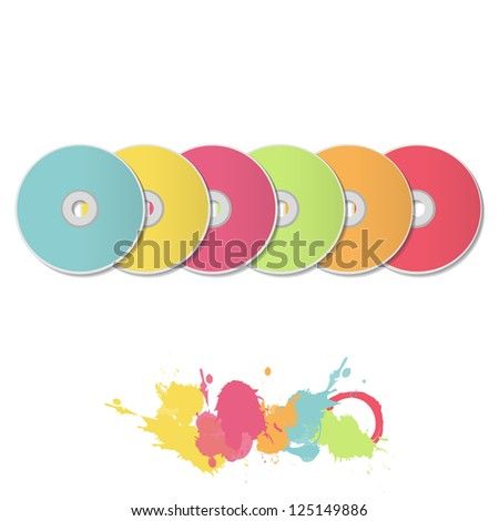 Colorful CDs on white background. Vector design. - stock vector