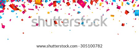 Colorful celebration banner with confetti. Vector background. - stock vector