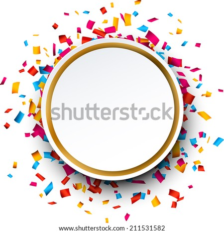 Colorful celebration christmas background with confetti. Vector Illustration. - stock vector