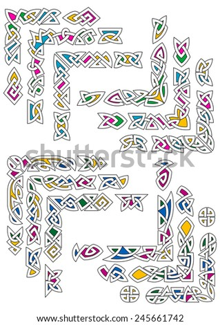 Colorful celtic knot ornamental corners for ethnic frame and decoration design - stock vector