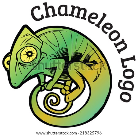 Colorful chameleon vector logo template