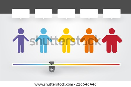 colorful characters with different weight and BMI indicator - stock vector