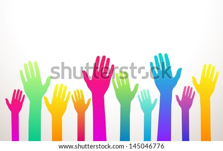 colorful charity background with hands