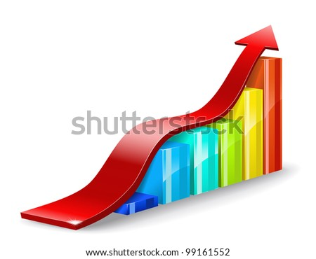 Colorful chart and a red arrow on a white background are shown in the picture. - stock vector