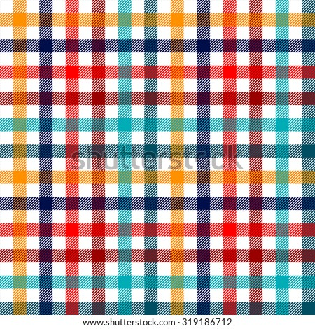 Colorful checkered gingham plaid fabric seamless pattern in blue white red and yellow, vector print - stock vector