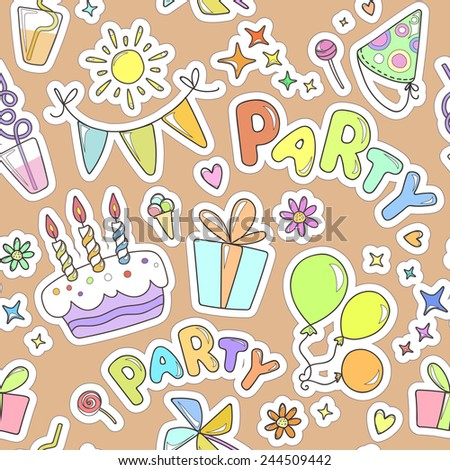 Colorful cheerful seamless pattern on the topic of children's holiday. Balloons, cake with candles, ice cream, sweets, gifts, flowers, hearts, sparkles on orange background.