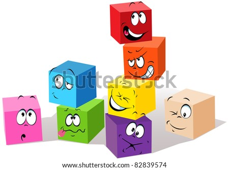 colorful childish cubes - stock vector