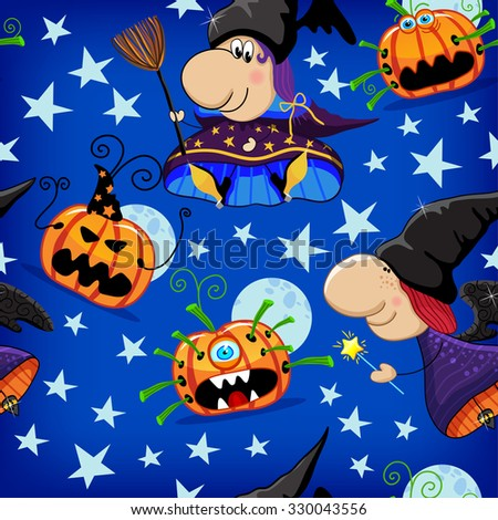 Colorful childlike seamless pattern with witches and pumpkins, stars. Vector pattern - stock vector