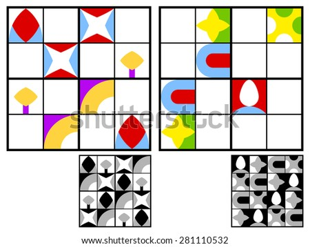 Colorful children sudoku puzzle with multicolored geometric patterns in the squares in the grid for mental stimulation and entertainment with two variations and answers, vector design - stock vector