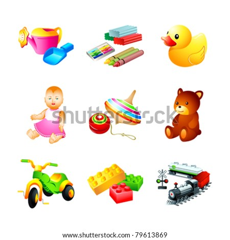 Colorful children toy, tool and model icons - stock vector