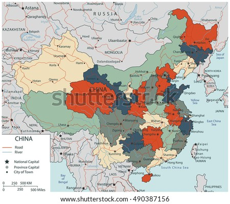 Colorful China Political Map With Selectable Territories Vector Ilration