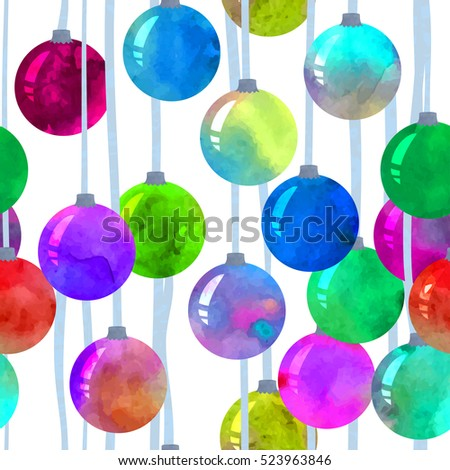 Colorful Christmas balls hanging. Vector watercolor. Seamless pattern.