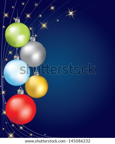 Colorful christmas balls over blue background - stock vector